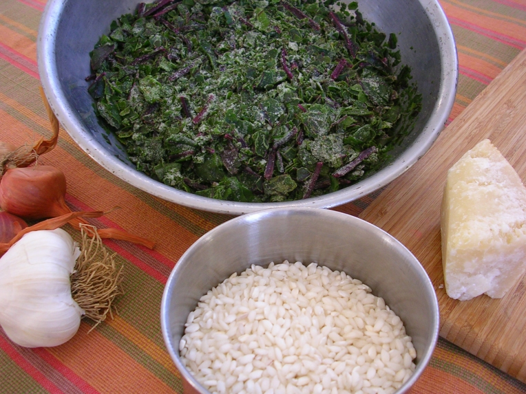 Risotto with beet greens