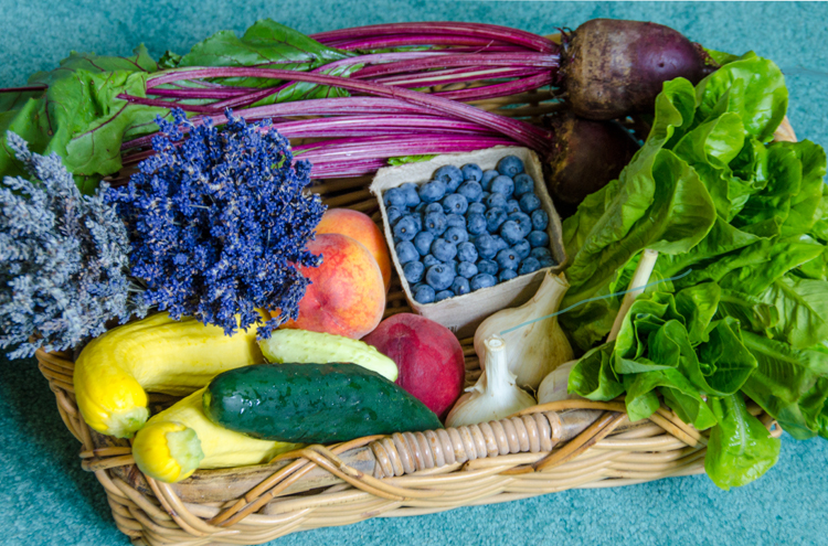 Fresh local produce in July